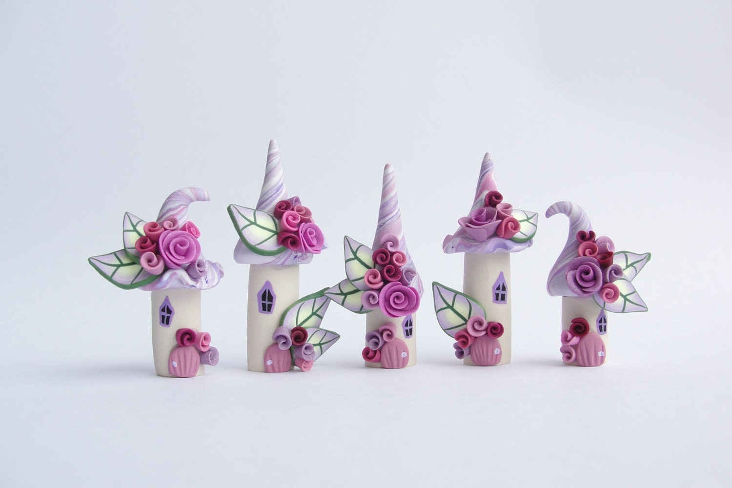 Miniature fairy village in lilac and deep pink colours handmade from polymer clay - fizzyclaret