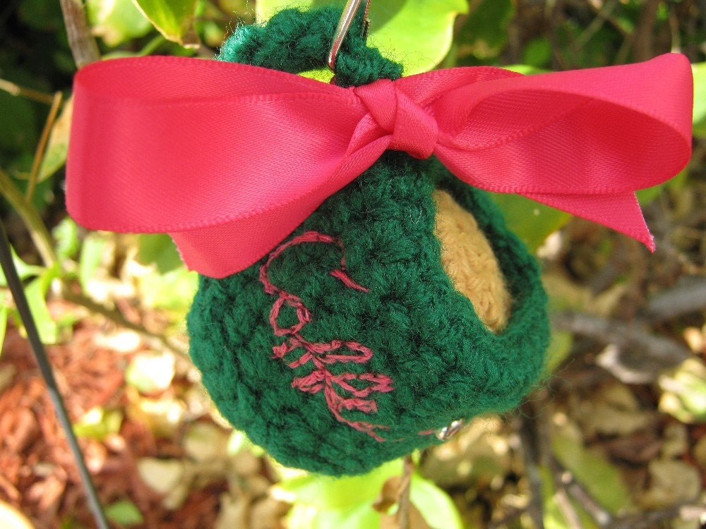 Amigurumi Green COFFEE Tea Cup With a swarovski by PinkFrog4U from etsy.com