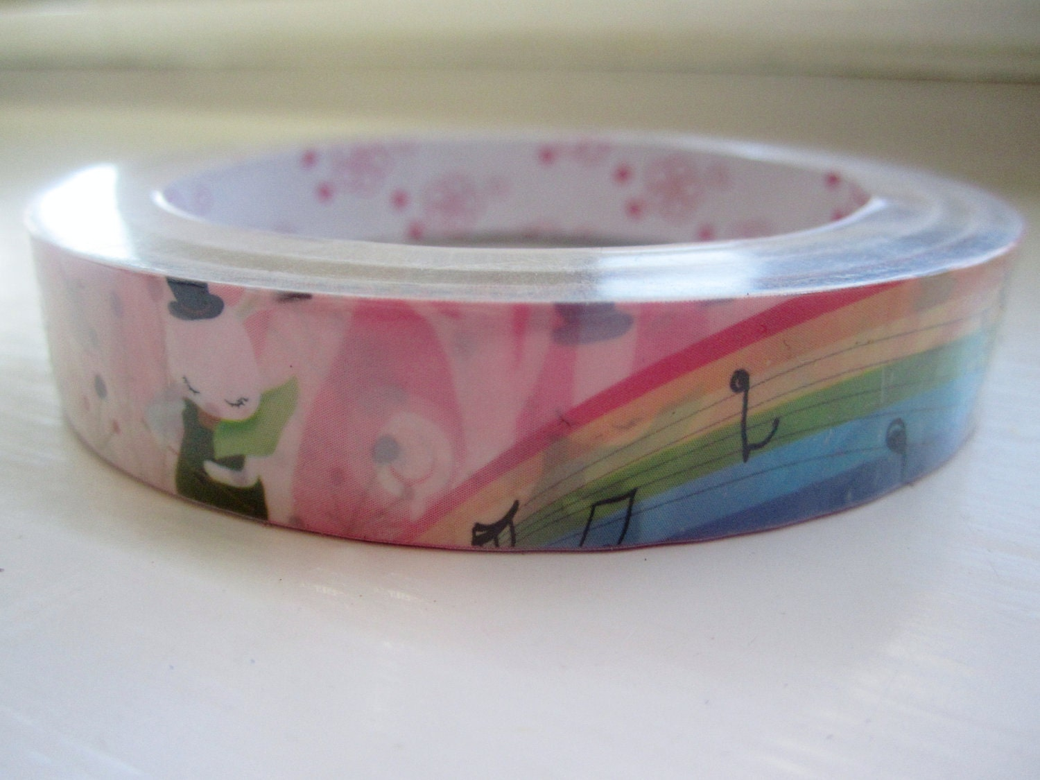 Kawaii Deco Tape Roll of Somewhere Over the Rainbow with Bunnies