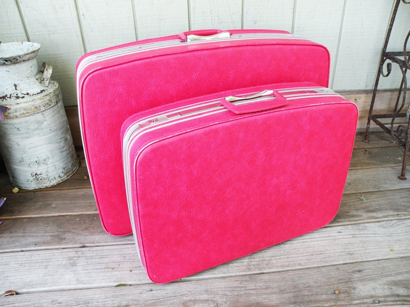 Pair of Hot Pink Samsonite Fashionaire Suitcases // Luggage Travel Storage Organization