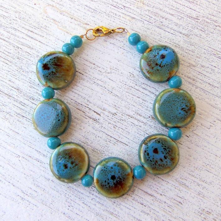 Chunky Blue and Brown Ceramic Beaded Bracelet - GlitterFrogDesigns