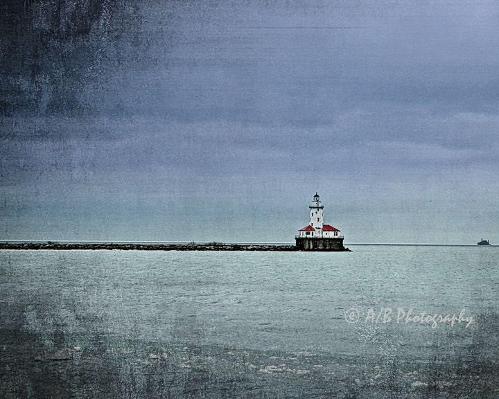 Lonely Lighthouse on Lake Michigan - 8X10 Art Print - AlphaBetaPhoto