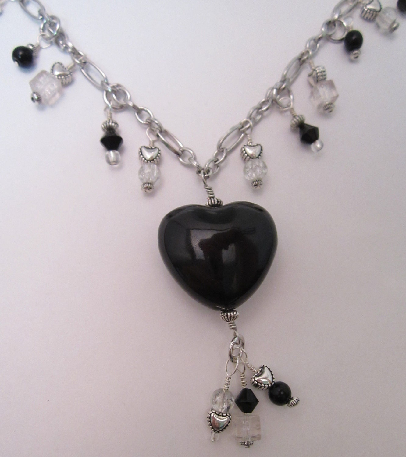 Black and Crystal Necklace and Earring Set, Valentine Hearts Jewelry, Goth Love - LizzysFancies
