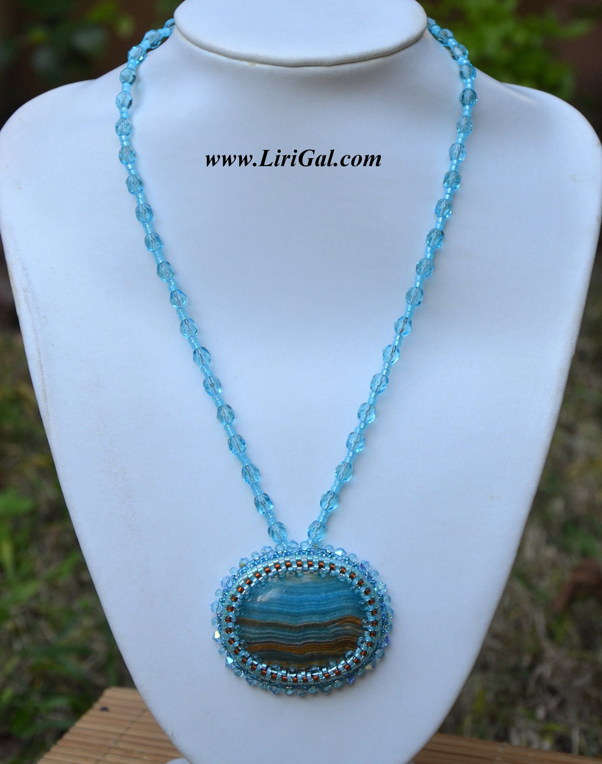 Blue Lace Chalcedony  Beaded  Pendant.