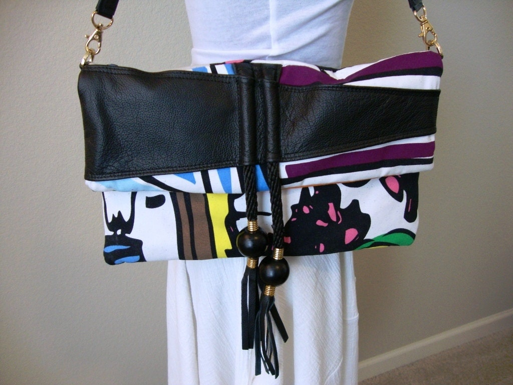 Canvas and leather clutch bag with tassels (Marge)