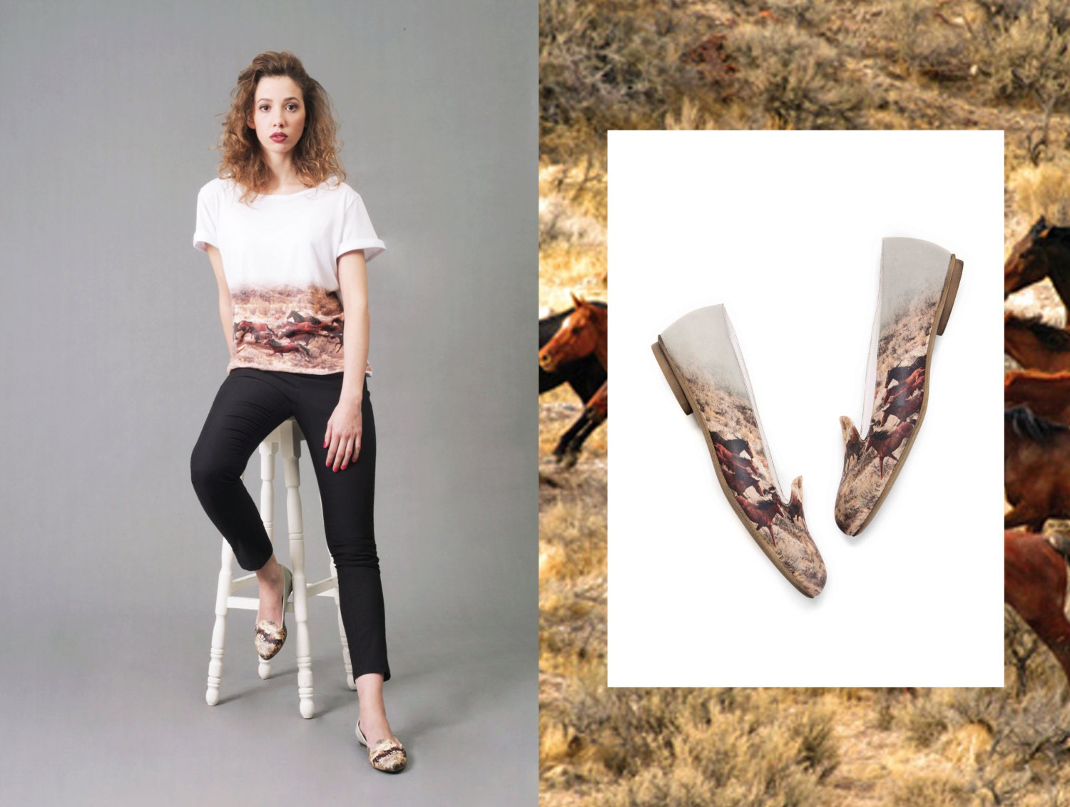 Limited Edition Slipper with Wild Horses Print & Matching Tee