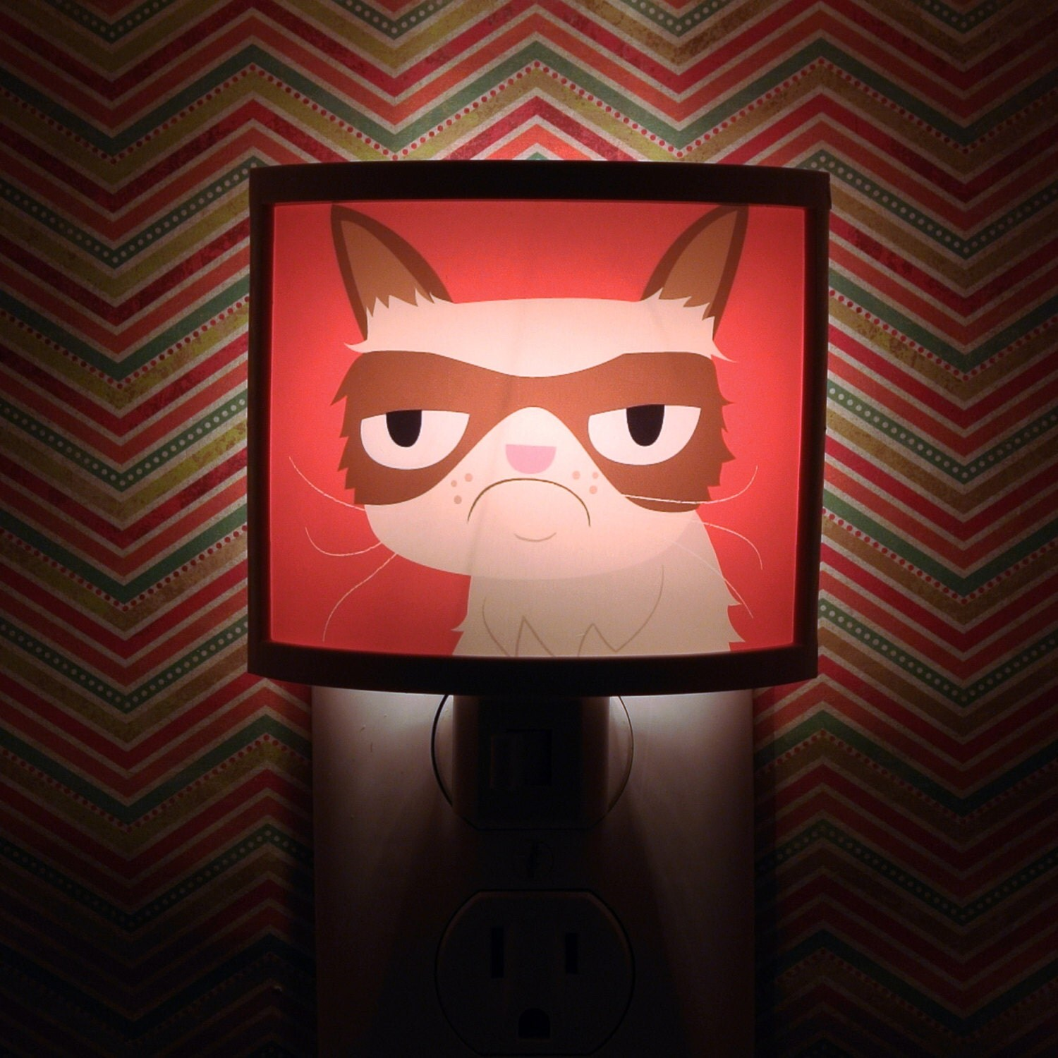 Grumpy Cat Night Light negative adorable art by Kathleen Habbley Cute Nursery Bathroom hallway Bedroom GET IT nightlight Nite Lite - CommonRebels