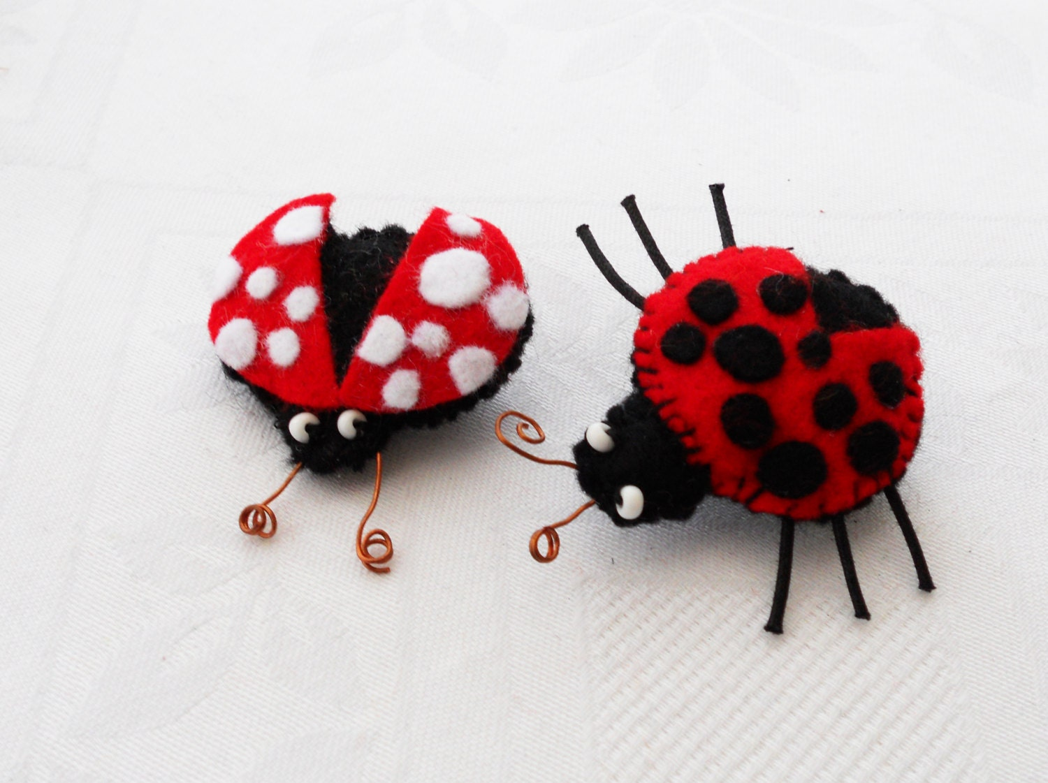 Ladybugs Ladybirds Brooches FIVE Brooches Easter Spring Pins Felted Brooches Kids Jewelry Red Black White Spring Made To Order - oddandcurious