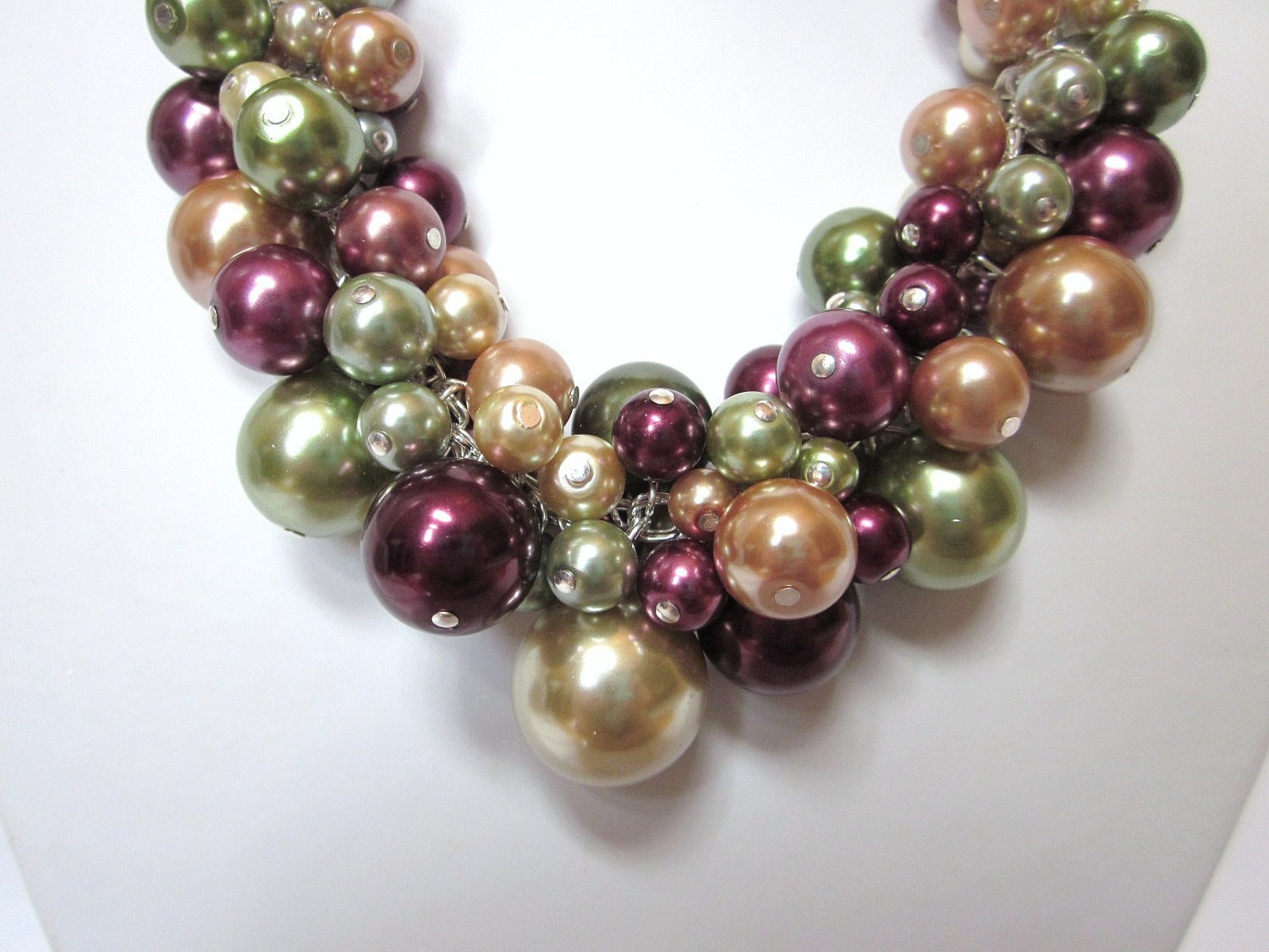 """Pearl Cluster Necklace -""""Fall Apples"""" in Green, Burgundy and Gold - Chunky, Choker, Bib, Necklace, Wedding, Bridal, Bridesmaid, Prom - CreationsbyCynthia1"""