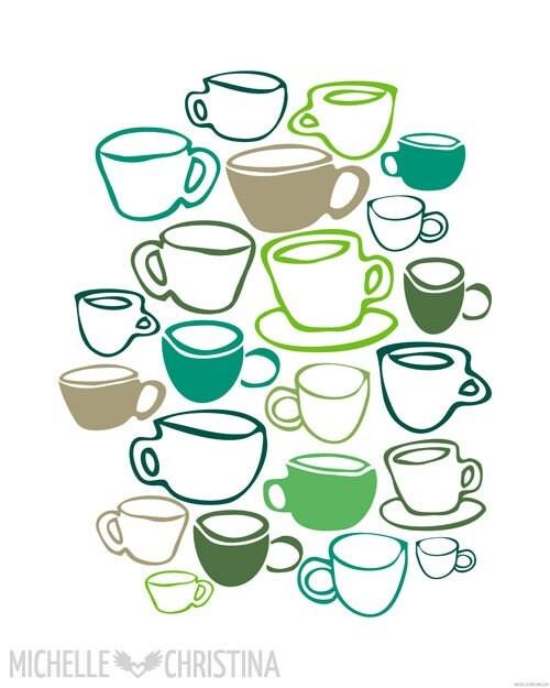 Green Tea - Extra Large Art Poster Print - 16x20