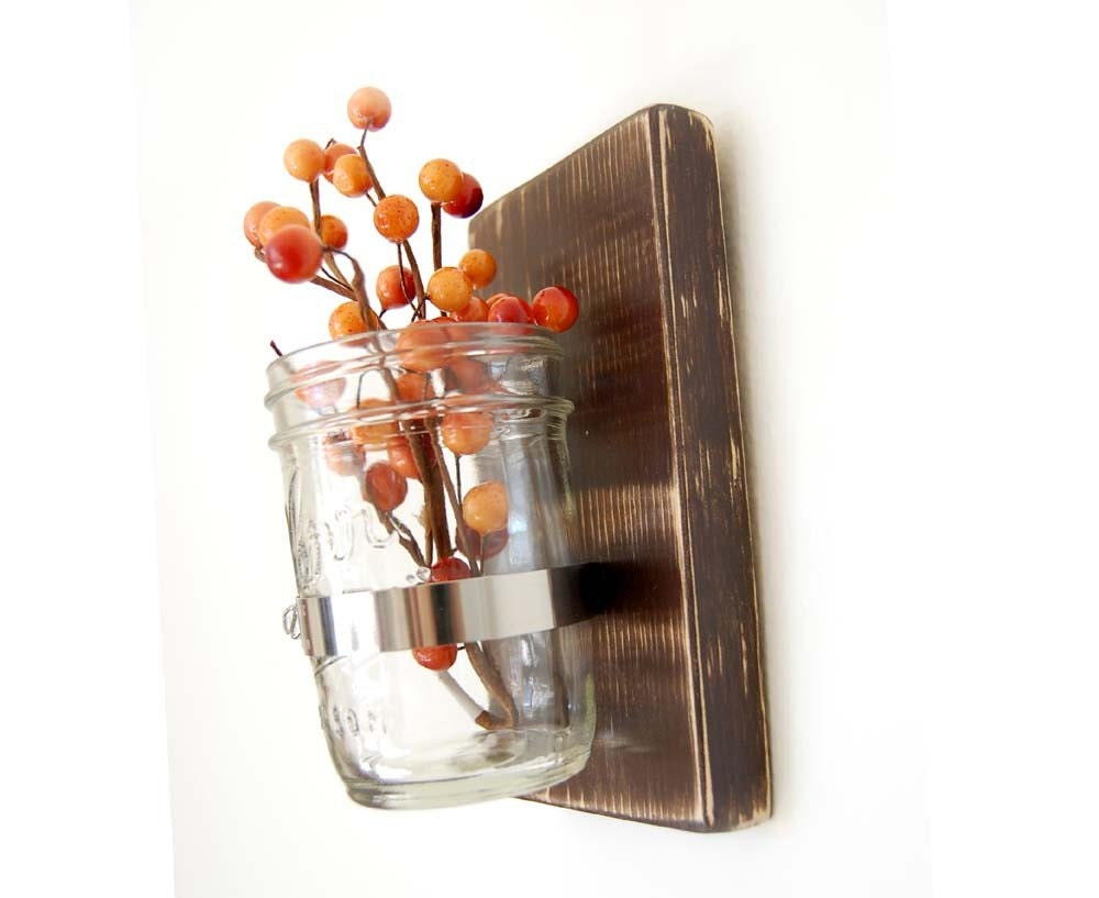 Country cottage mason jar wood wall decor flower vase primitive Chocolate Brown Espresso