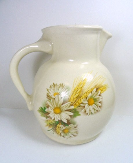 Vintage Pottery Pitcher Ivory with Daisies - MemoriesofYesterday