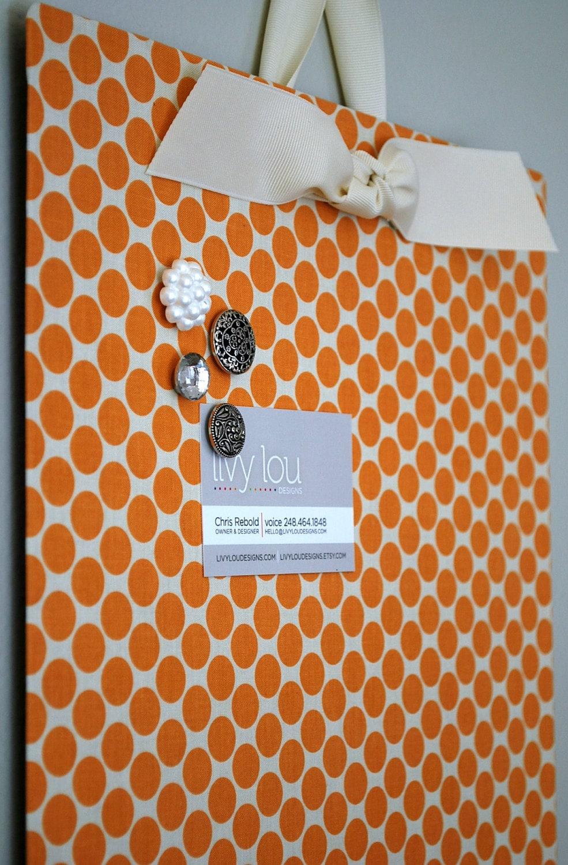 "Fabric Magnet Board (12""x18"") -Tangerine Dot"