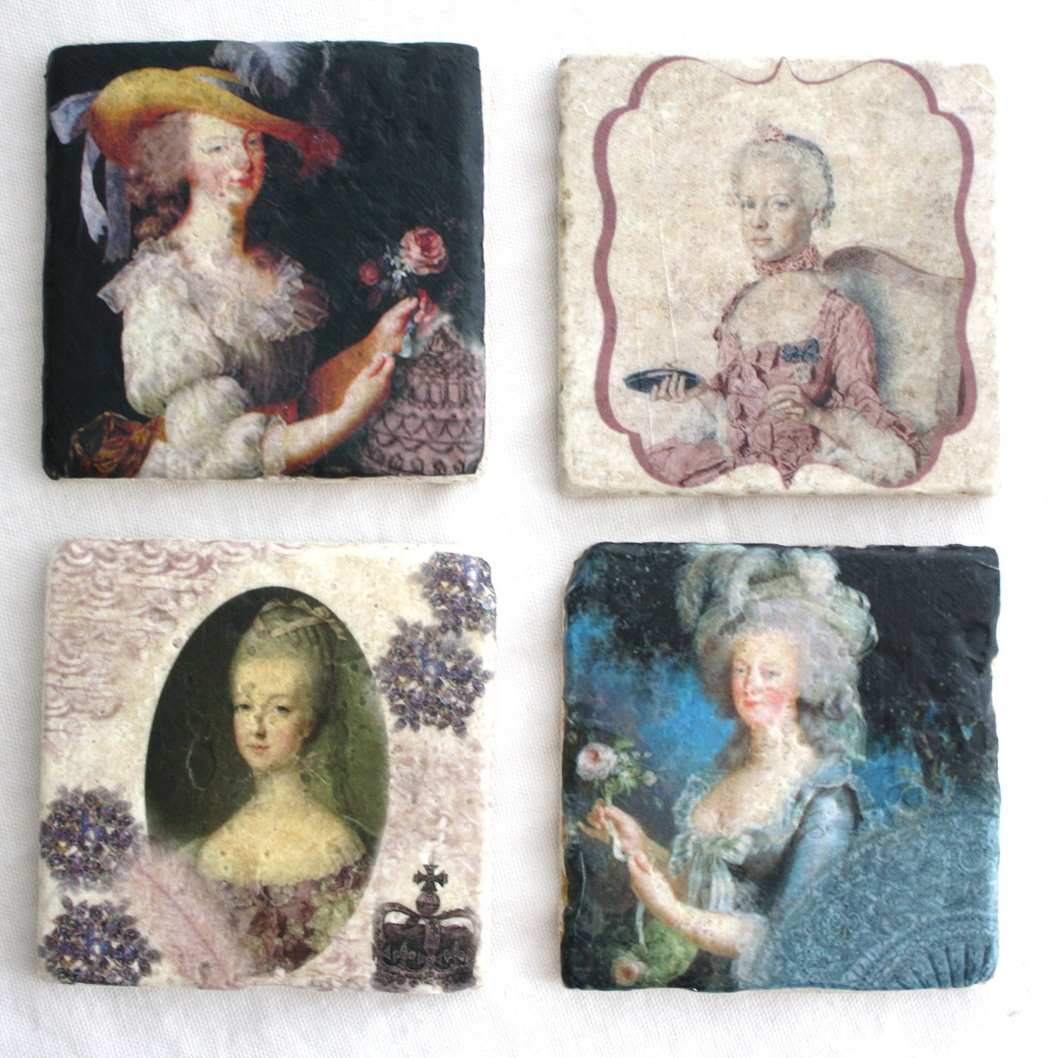 Tumbled Stone French Coasters- Marie Antoinette portraits, set of 4, water & heat safe- Free shipping insurance. French Country Decor.