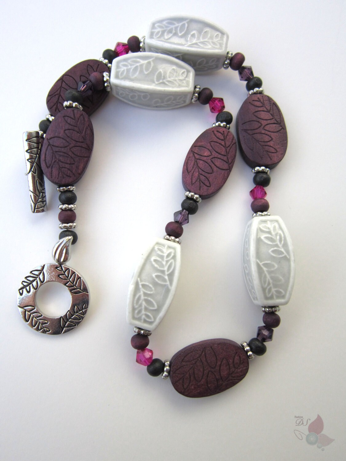 Carved Wood & Stone Necklace