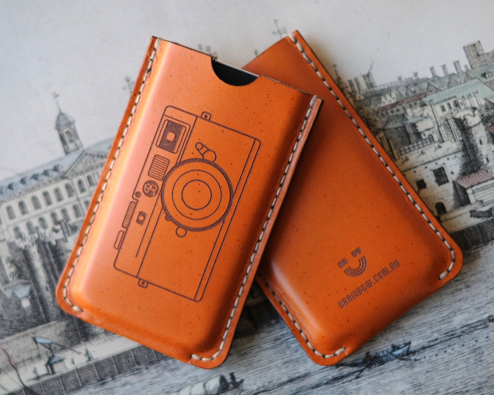 iPhone Leather Case with back pocket  - Camera - bRainbowshop