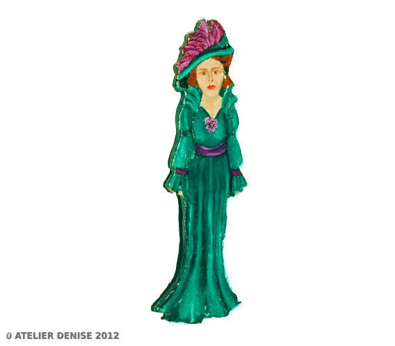 Victorian Woman in Green and Violet Christmas Ornament