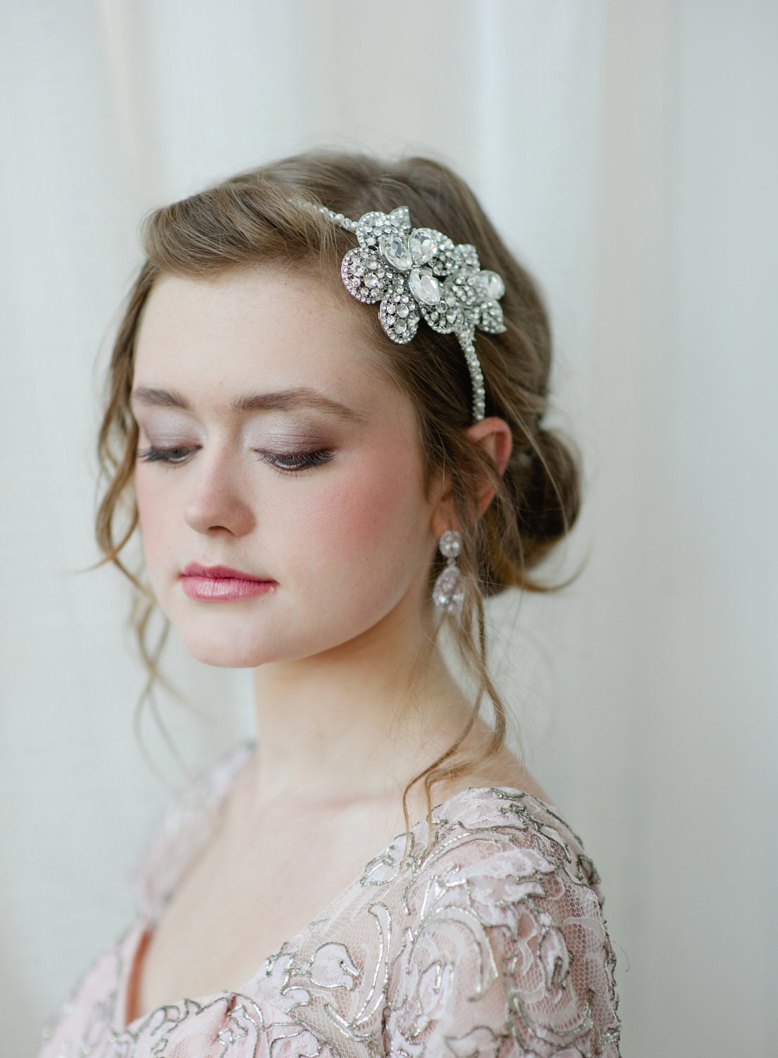 Bridal Headband with Rhinestone Flower and Swarovski Pearls and Crystals by Fine & Fleurie