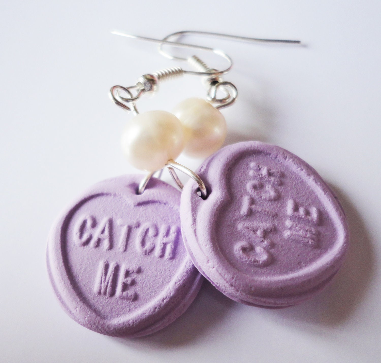 Custom Kawaii Lolita Inspired Lovehearts Candy Lilac Earrings - XKawaiiCutieX
