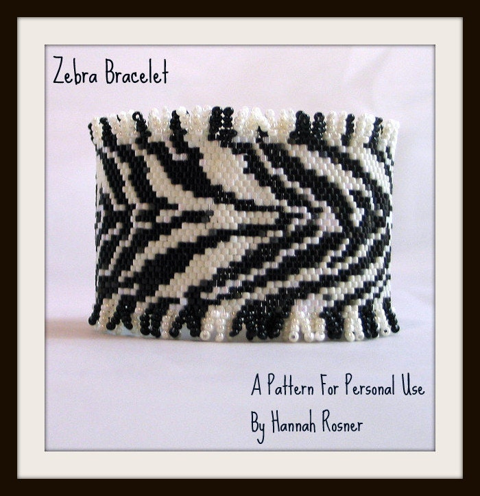 Hannah Rosner cuff bracelet bead pattern peyote stitch zebra