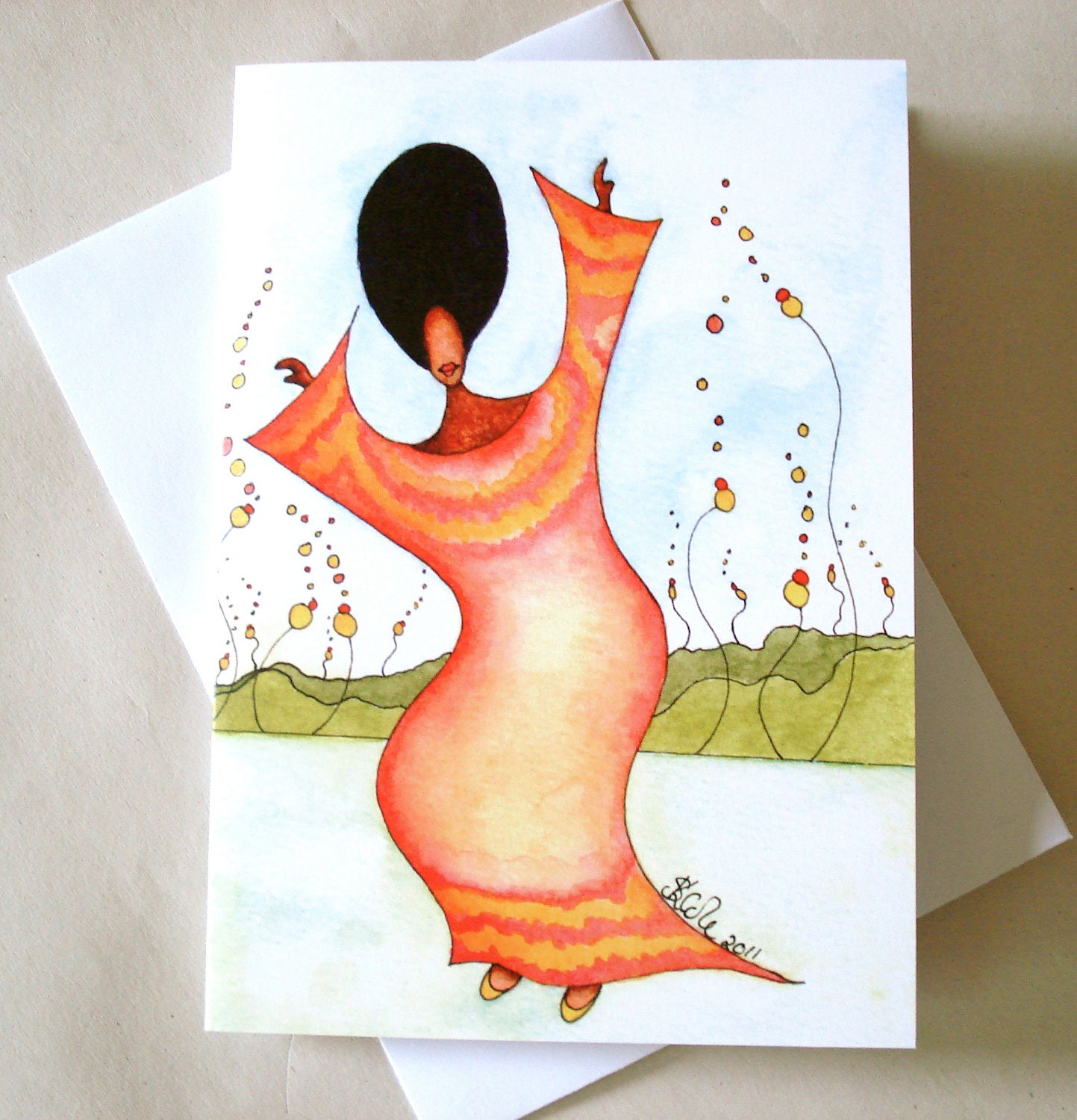 African American Watercolour Greeting Card