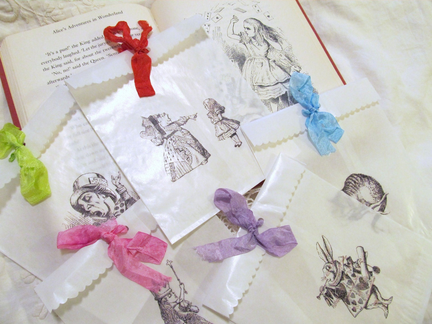 Alice in Wonderland Glassine Party Favor Treat Bags with Ribbon - Set of 10 - Choice of Ribbon Color