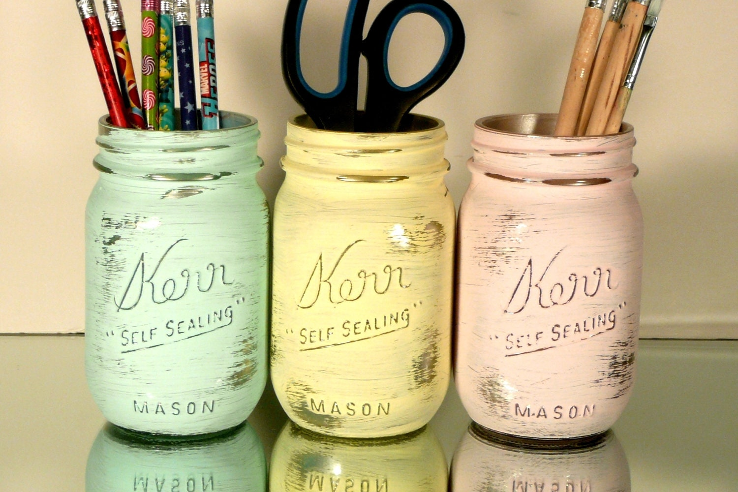 Back to School - Home, Dorm or Office Decor, Wedding - Pastel painted mason jars with silver inside
