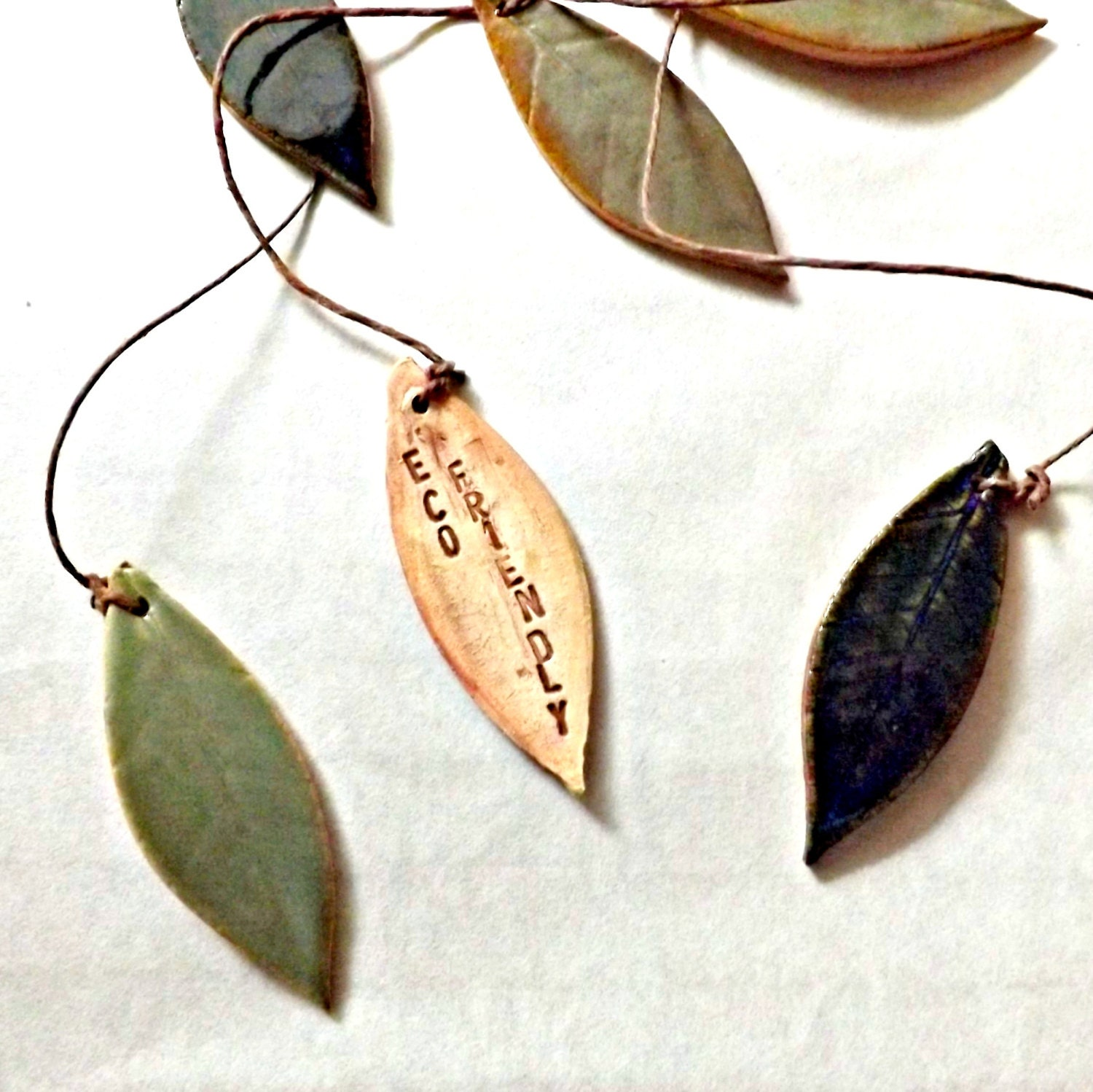 Eco Friendly Stoneware Leaf Chimes or Mobile - StudioByTheForest