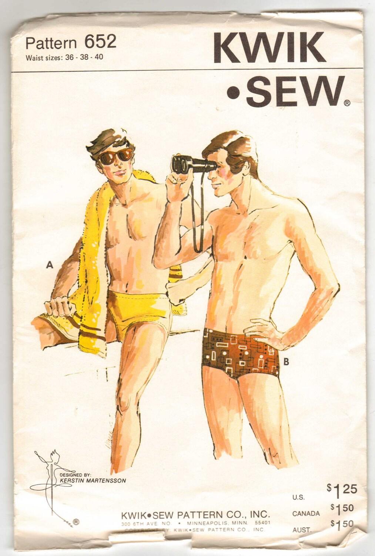 Kwik Sew Pattern 652 for Men's Swim Trunks in Bikini or Regular Style Sizes ...