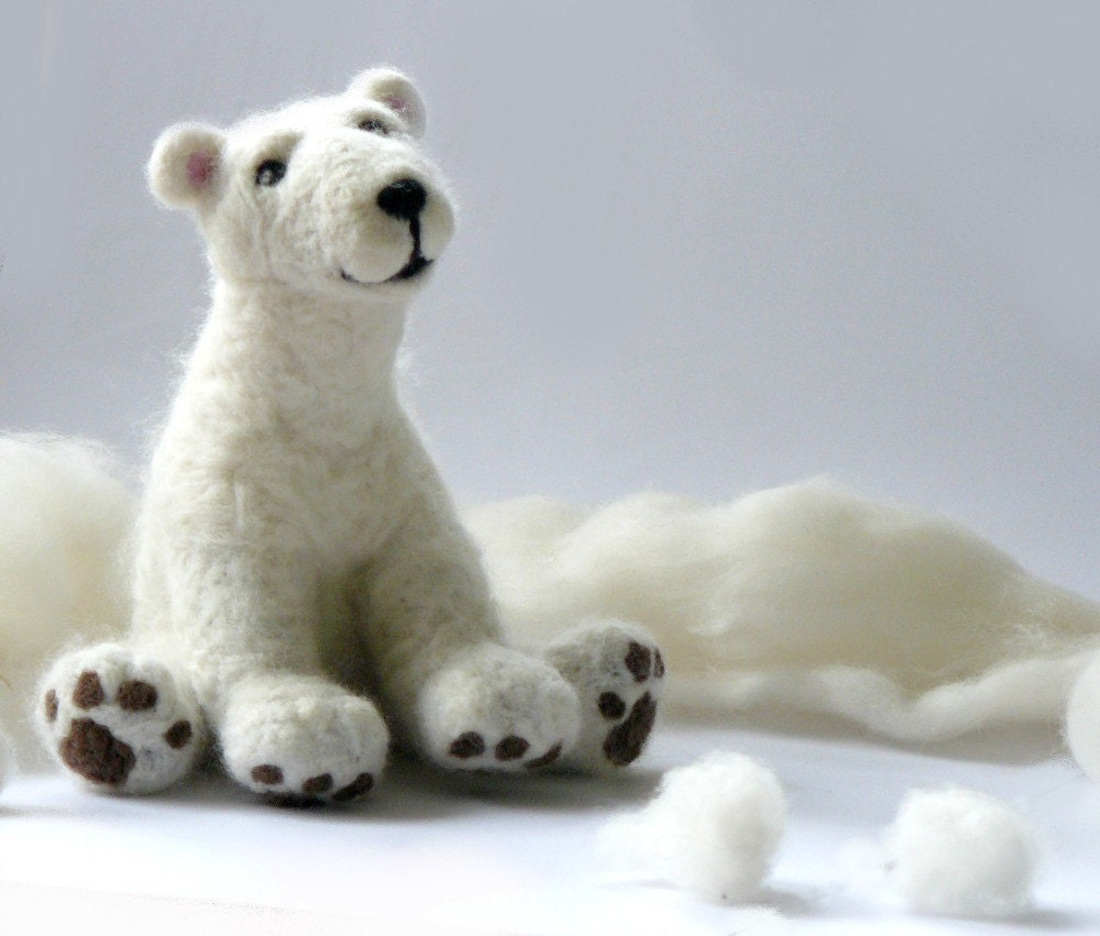 Needle felted polar bear, Felt Animal Natural, children toy, Made to order - AndreaFelting