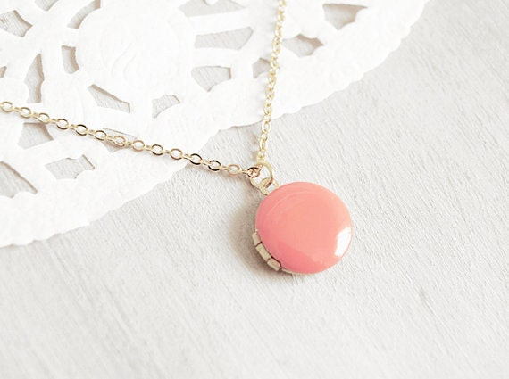 Coral Enamel Charm Locket -16k Gold Plated Necklace