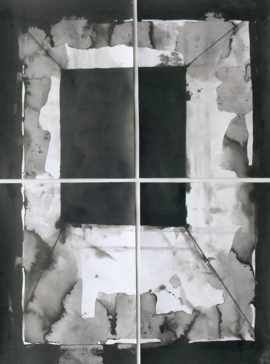 """Geometric Black and White Set of Four Drawings/paintings """"Window"""" - maaikevannierop"""