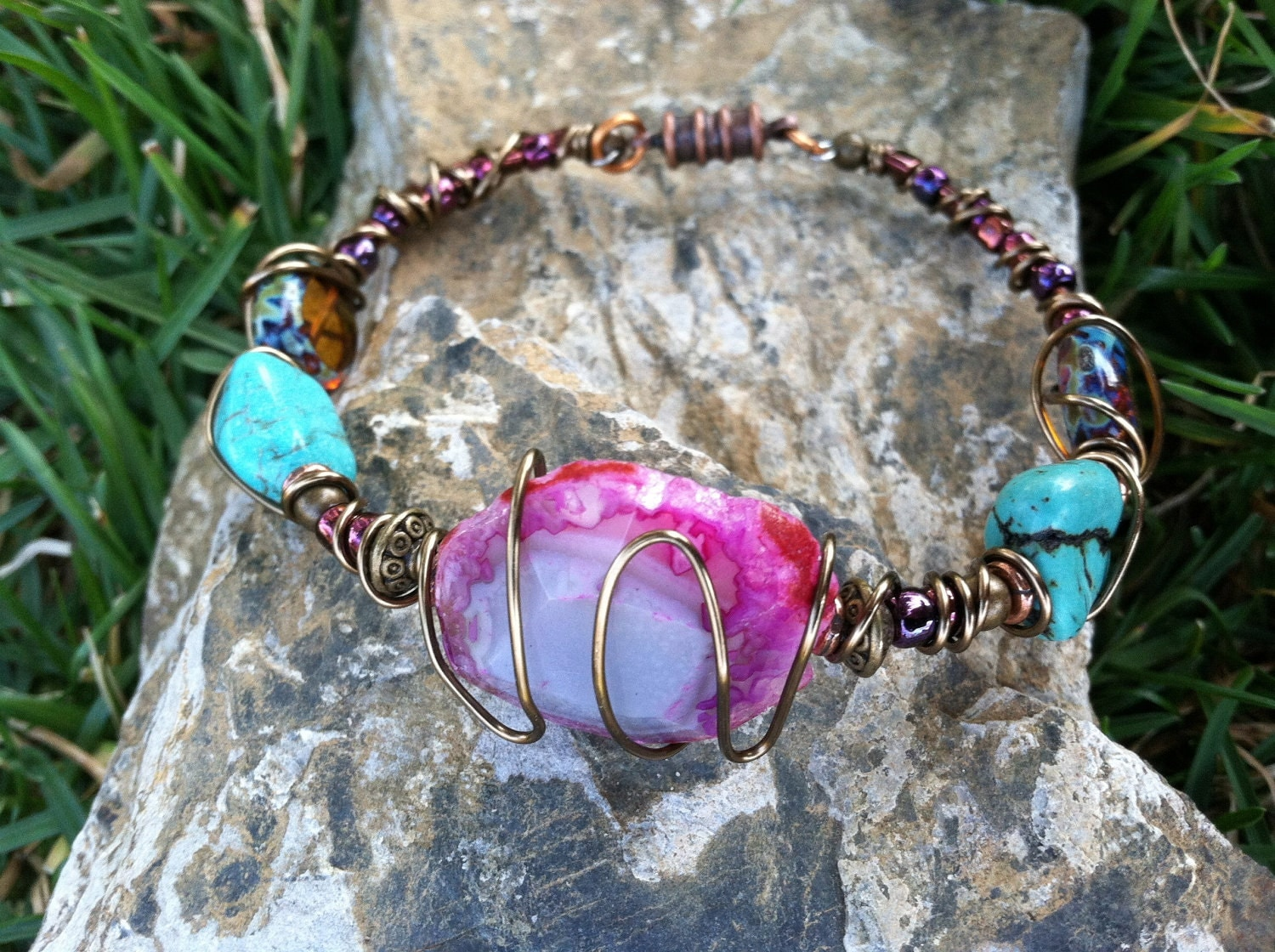 Bohemian Wire Wrapped Bracelet and Earring SET