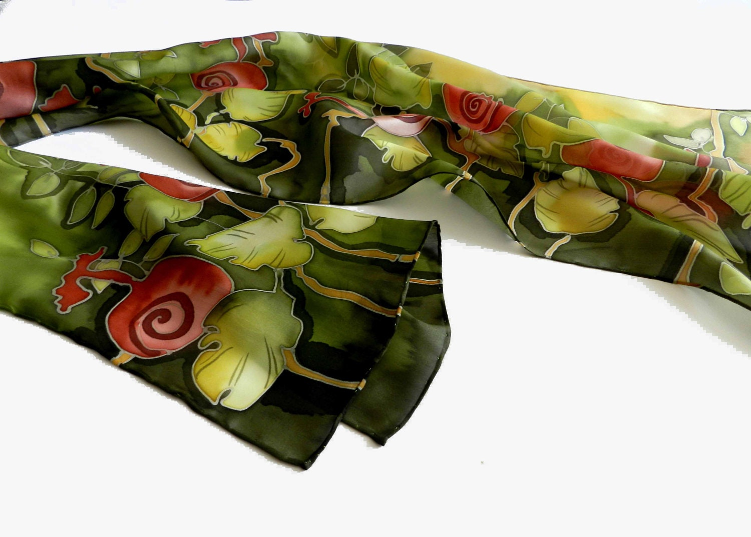 Hand painted silk scarf in green and red , with woodland natural motive.Made to order. - ArmeniaOnSilk