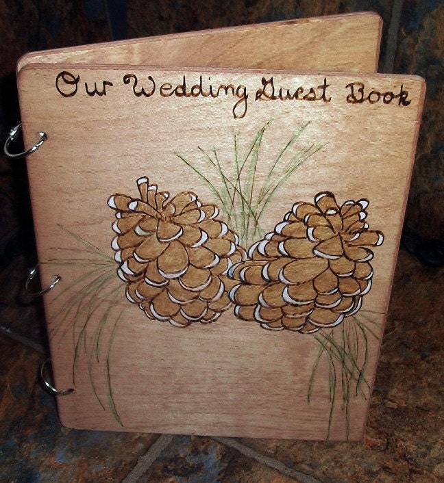 Wedding Guest Book Personalized Pine Cone Design From inspiredbymarie