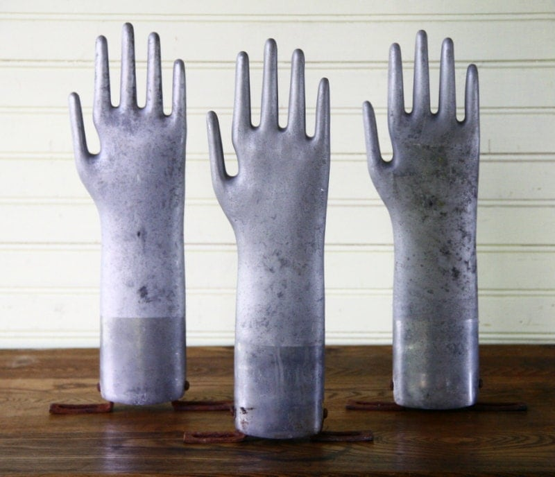 Vintage Metal Glove Hand Mold Industrial Grey Mannequin Style Decor Display - FernHillRd