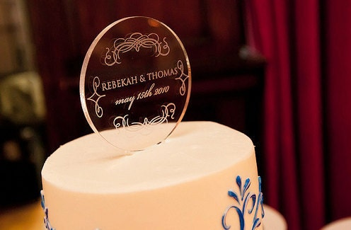 Custom Wedding Monogram Cake Topper - Engraved Clear Acrylic