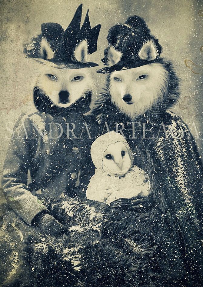 Family secrets - lustre print size A4 ( 8.3 in x 11.7 in ) once upon a time anthropomorphic  fairy tale wolf owl snow magical - SandraArteagA