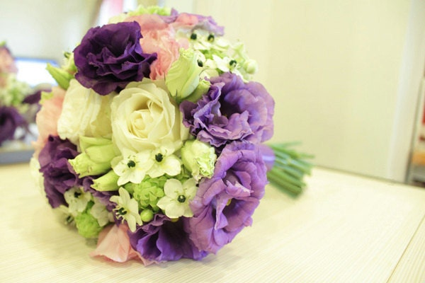 Pink Purple Lisianthus Cream Rose Star of Bethlehem Real Touch Wedding