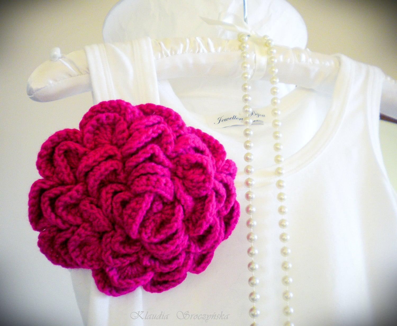 Extra Large Crochet Flower Brooch,Crocheted flower pin in fuchsia. - jewellerybijou