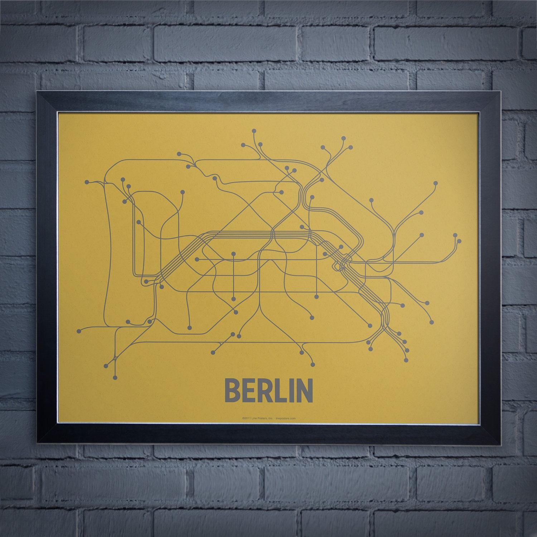 Berlin Lineposter Screen Print - Ochre/Gray