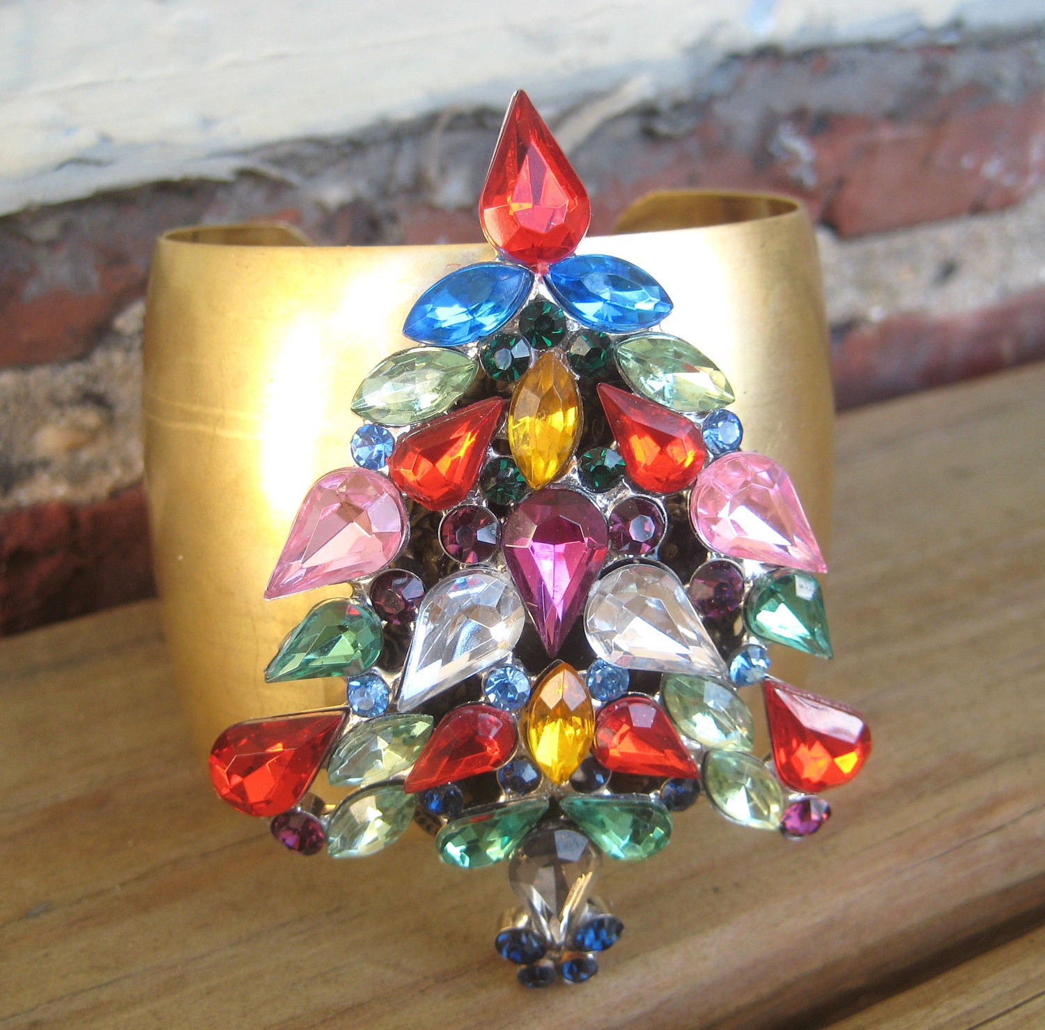 Vintage Christmas Tree Brooch Cuff Multi Color Crystal Rhinestone  Rainbow Jewel Tones