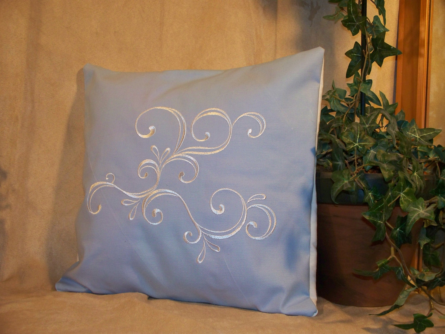 "12"" x 12"" Light Blue with White Embroidered Swirl Decorative Pillow Cover"