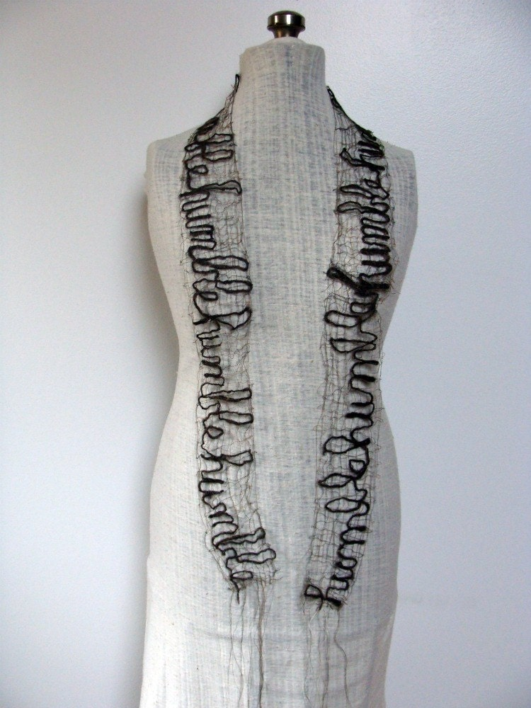 Scarf Humble Fiberart made with Handspun Wool & Thread