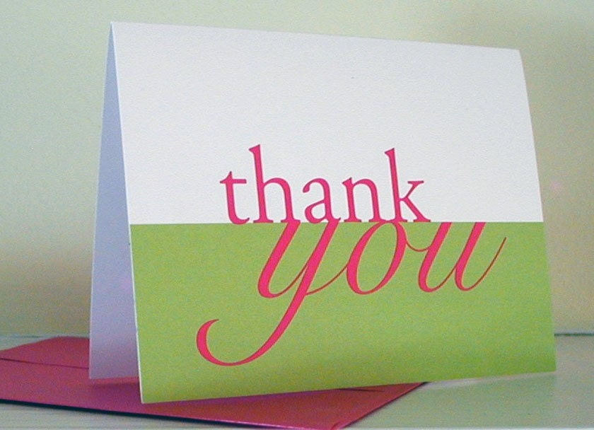 Thank You Greeting Card - Folded Notes - Blank Cards - Pink and Green Notecard - fionadesigns