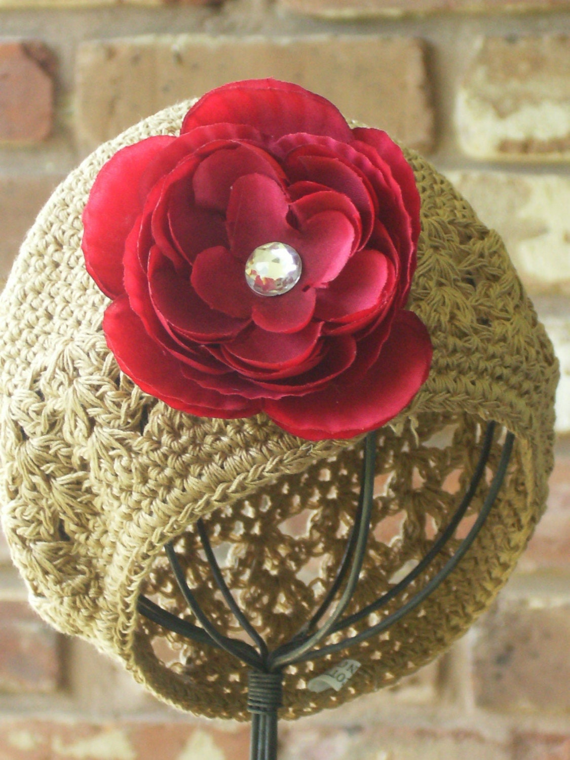 Boutique Newborn Baby Crochet Beanie Hat Cap with Jeweled Ranunculus Rose Flower Clip------Mocha Toffee-----Fits 0-12 Months------You Choose Flower