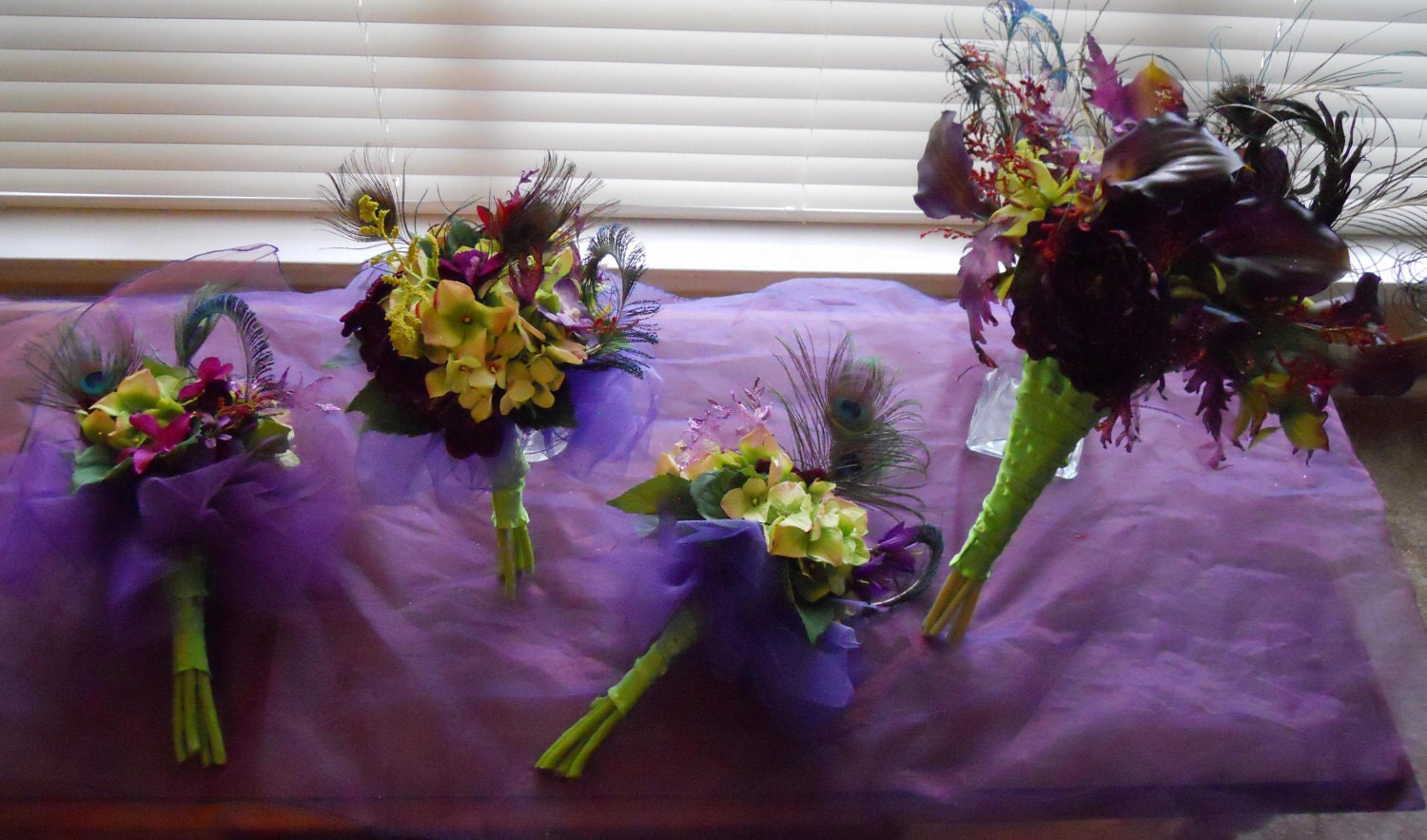 Purple Peacock Themed Wedding Bouquet From mayblue83