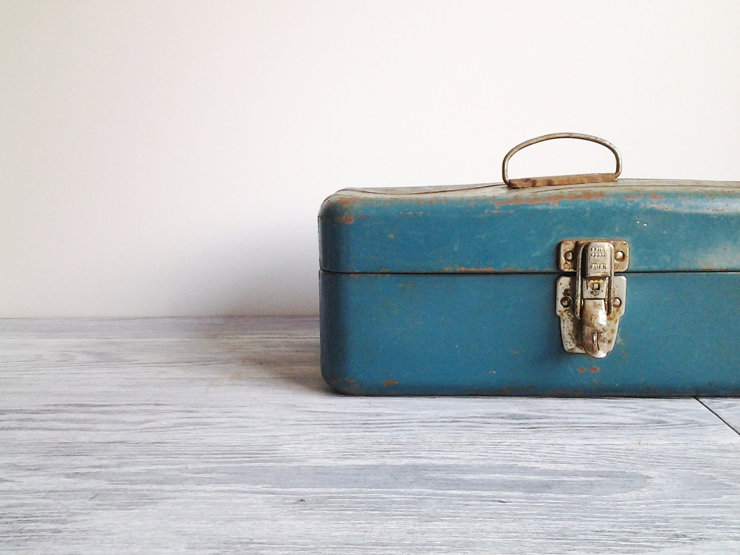 Vintage Teal Blue Metal Tackle Box Rusted Tool Case - CocoAndBear