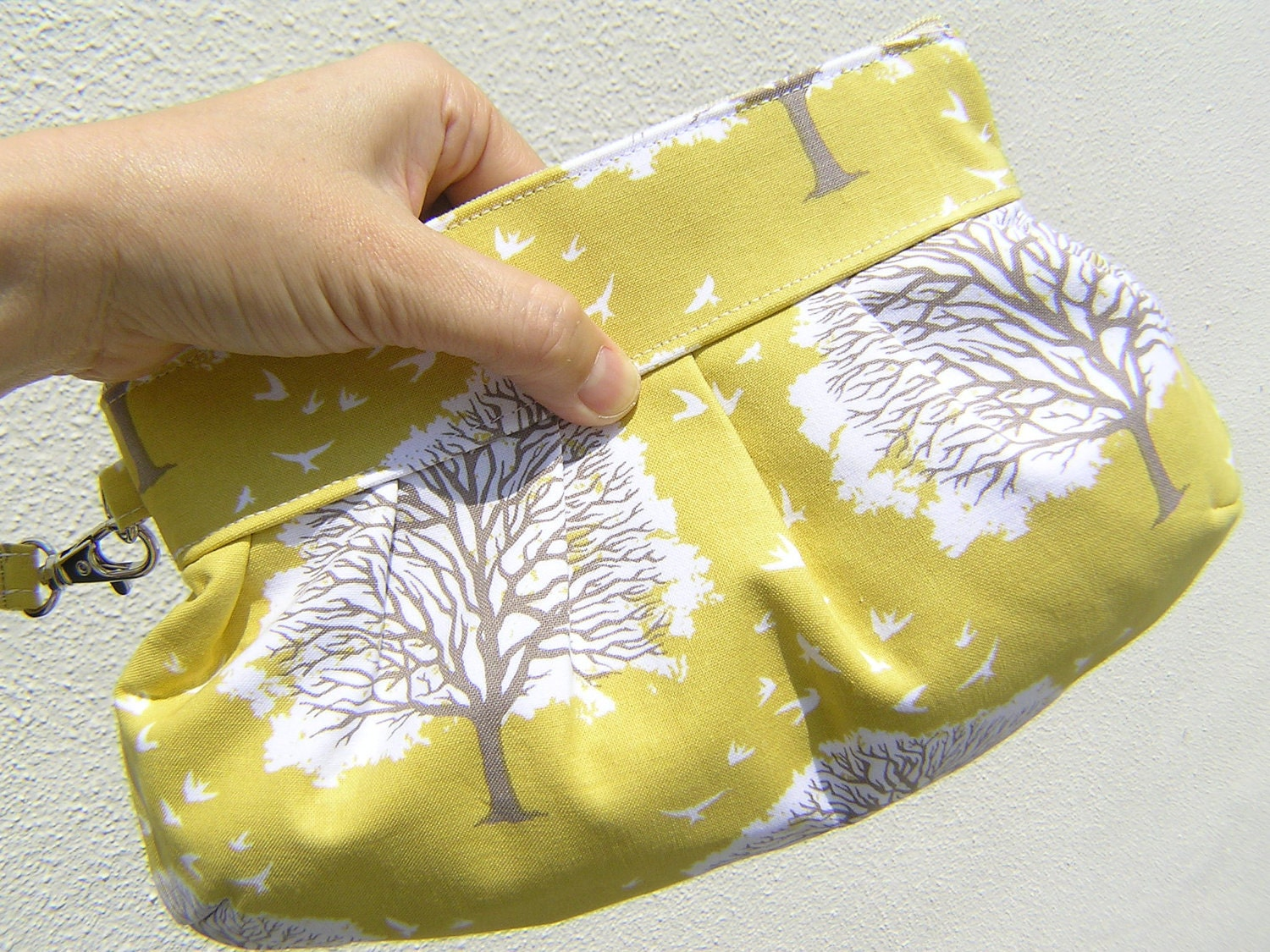 Janbag Wristlet, handmade, bridesmaids bag, bridal, diaper bag, gift pouch, bride - Majestic oak