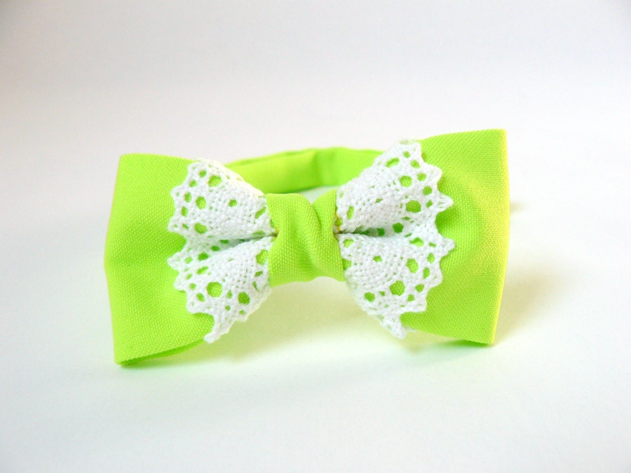 Women's bow tie lace chic fashionable trendy ladies girl - neon lime green bow tie cotton white lace